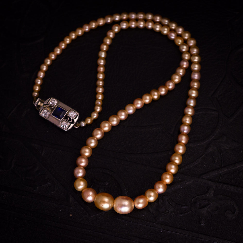 Art Deco Natural Pink Pearl Necklace