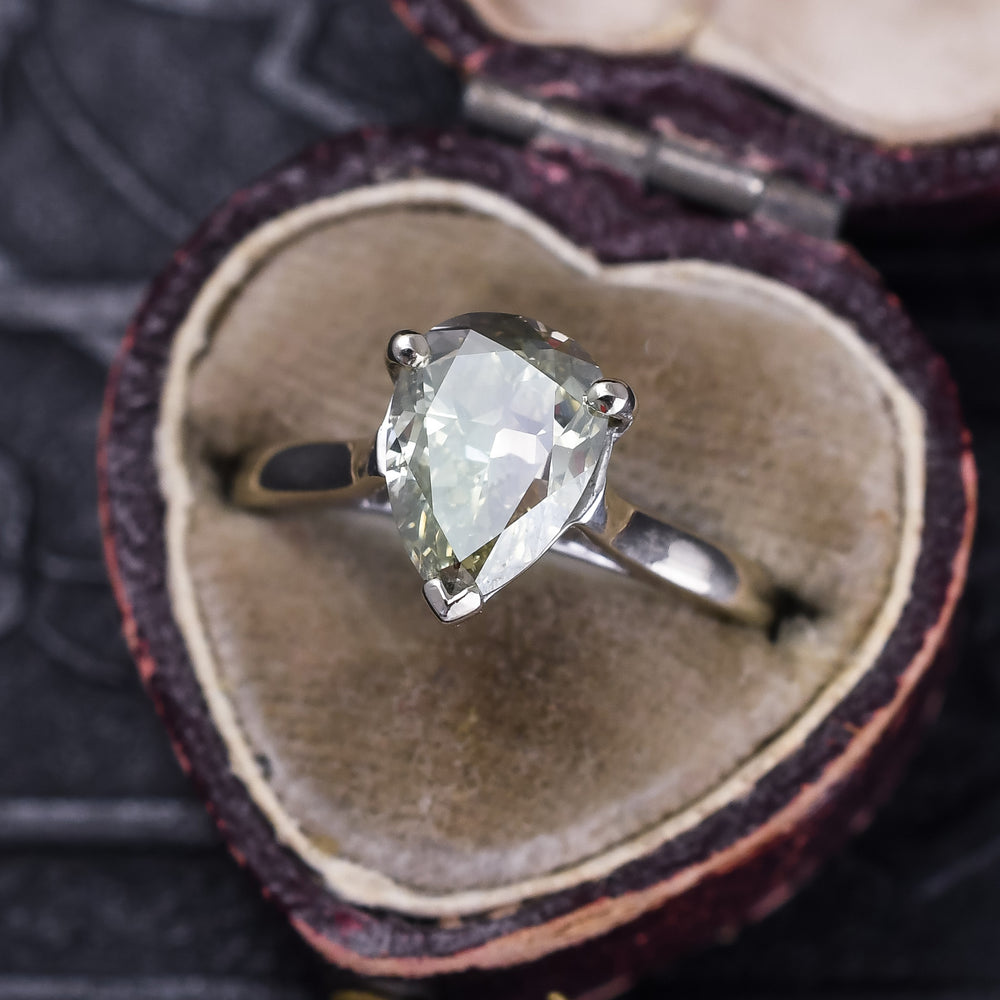 2.03ct Fancy Gray-Greenish Pear Diamond Engagement Ring