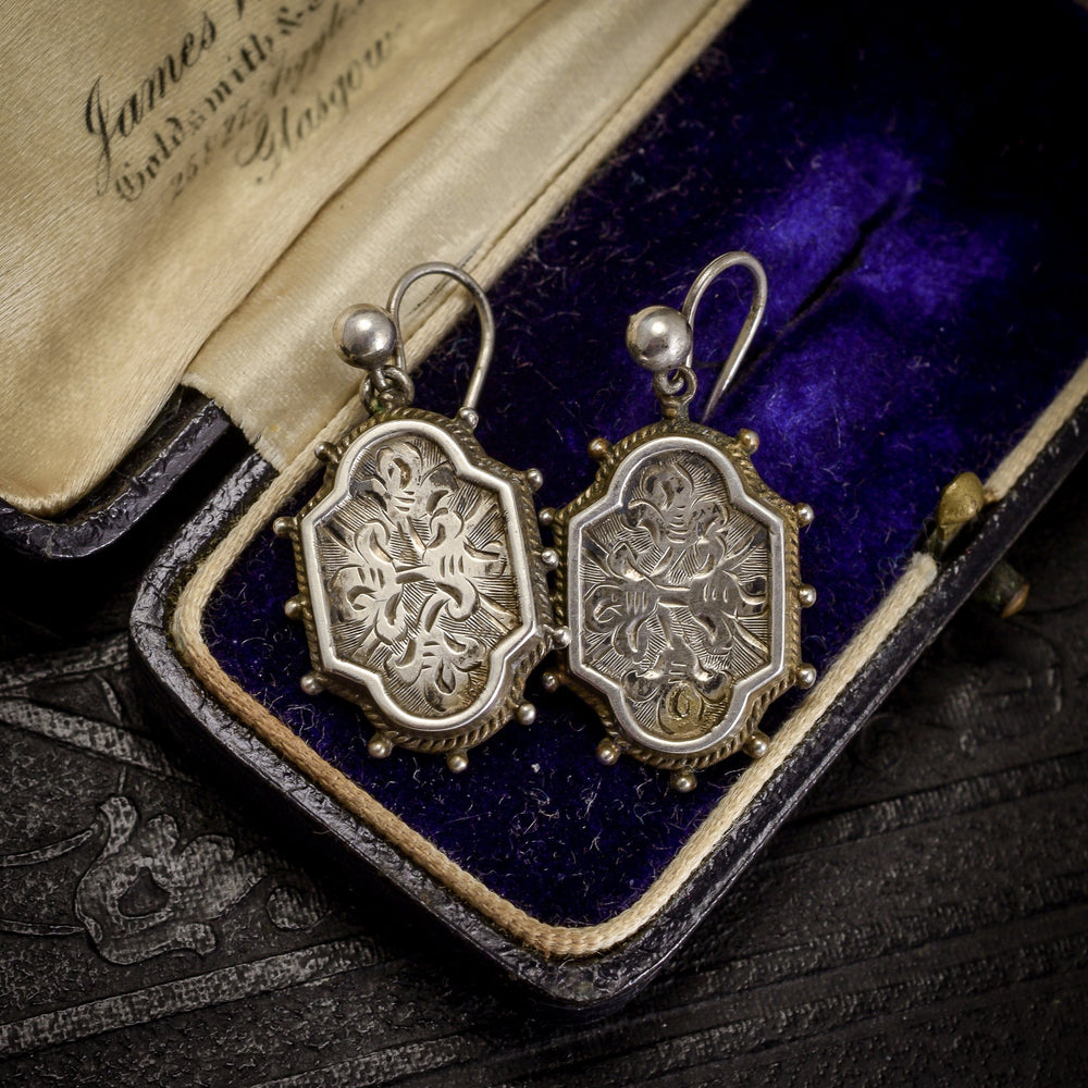 Mid-Victorian Chased Silver Earrings