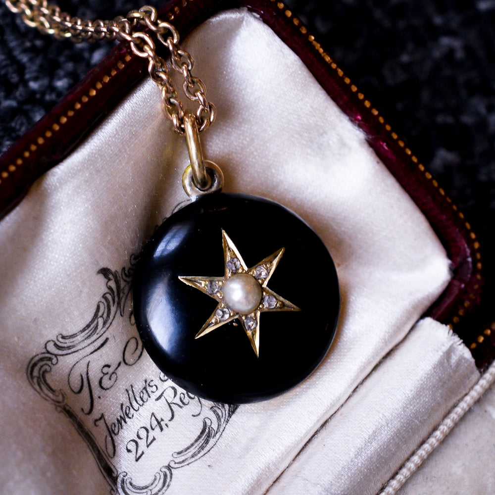 Victorian Black Enamel Star Locket