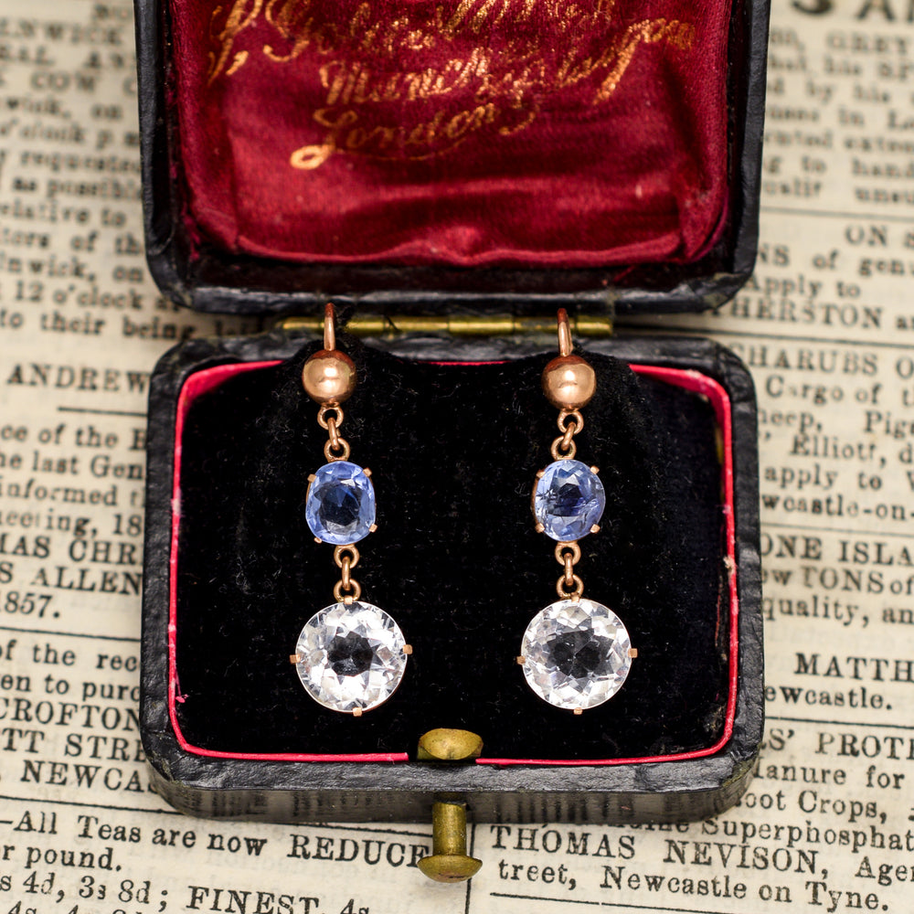 Victorian Ceylon & White Sapphire Drop Earrings