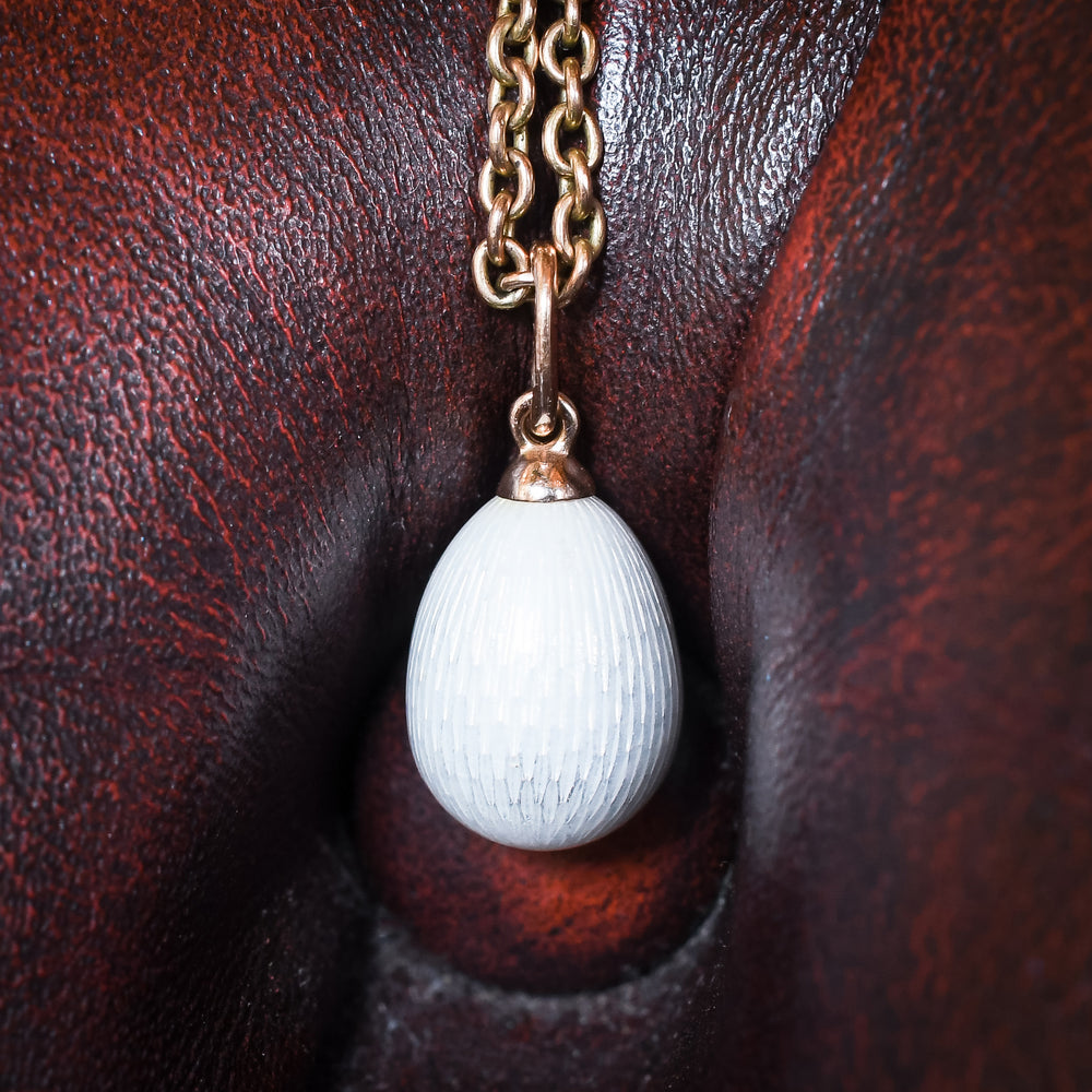 Imperial Russian White Enamel Miniature Egg Pendant