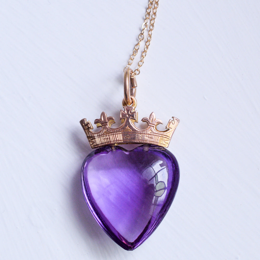 Victorian Amethyst Crowned Heart Pendant