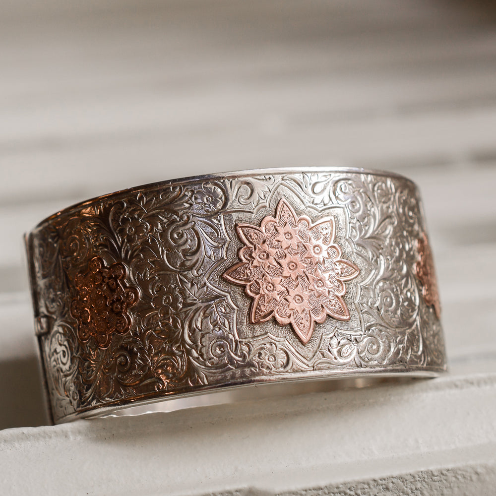 Victorian Silver & Rose Gold Cuff Bangle
