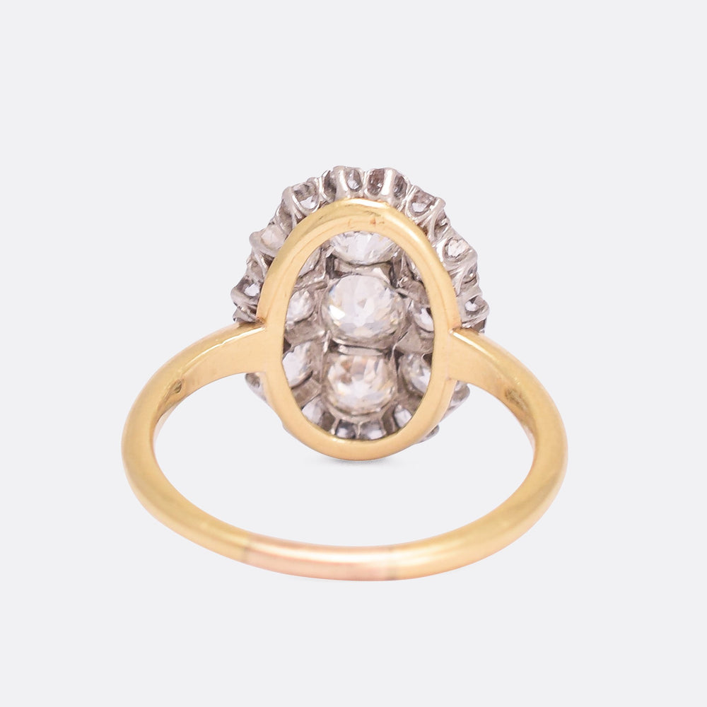 Edwardian 2.11ct Old Mine Cut Diamond Oval Cluster Ring