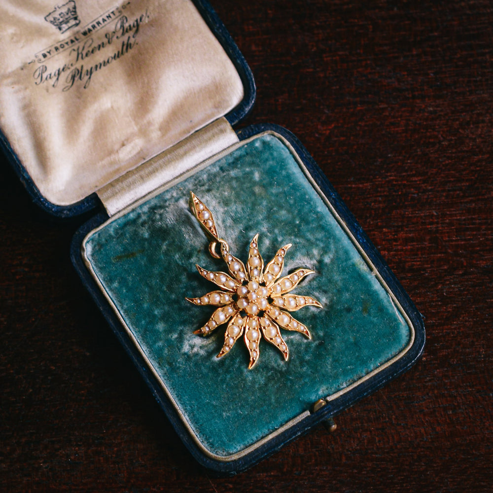 Late Victorian Pearl Starburst Pendant Brooch