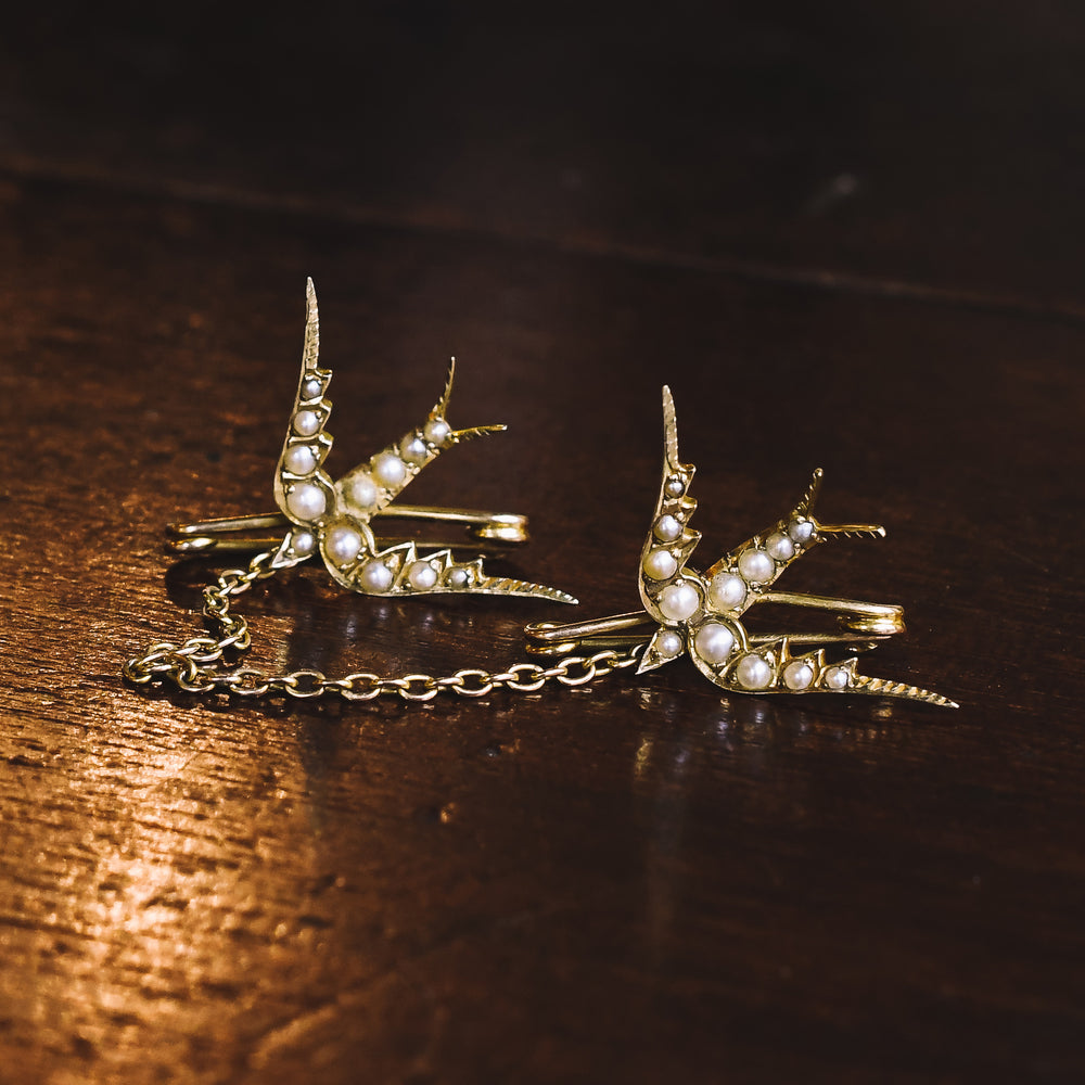 Victorian Pearl Double Swallows Brooch