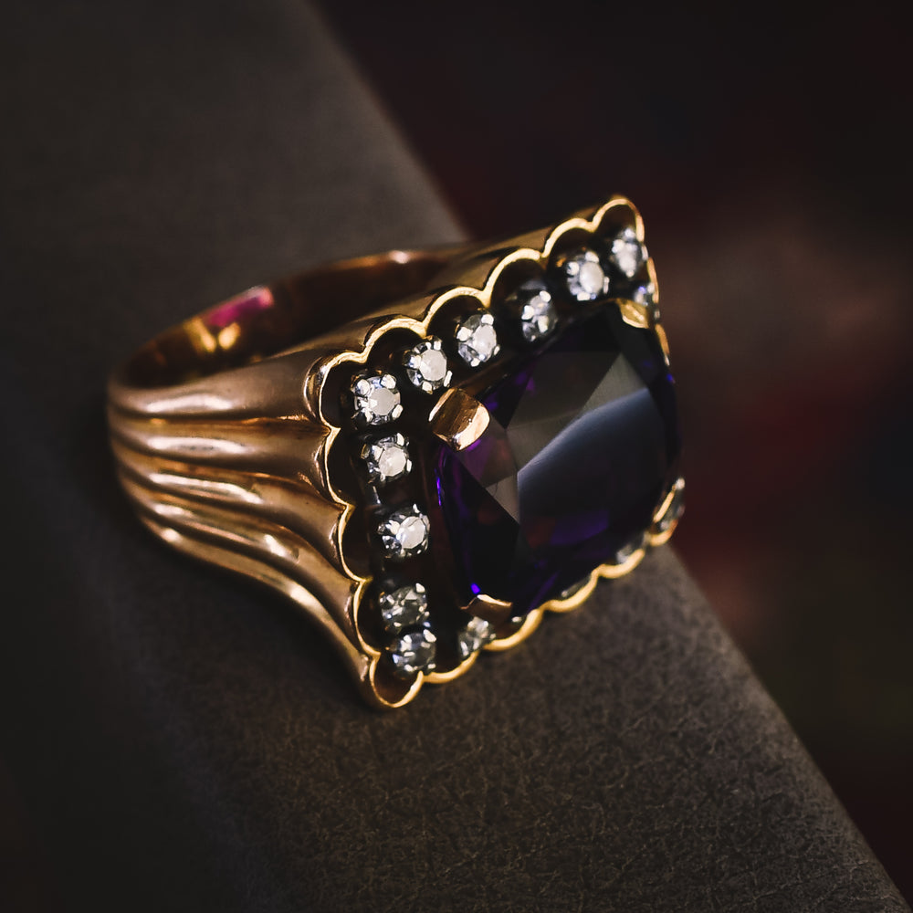 1970s Amethyst & Diamond Statement Ring