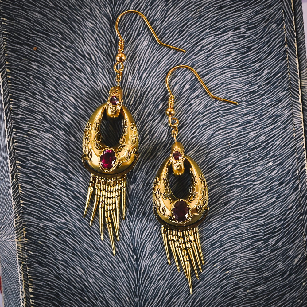 Etruscan Revival Almandine Garnet Hoop Earrings