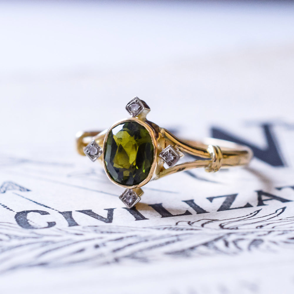 Edwardian Tourmaline Compass Point Ring