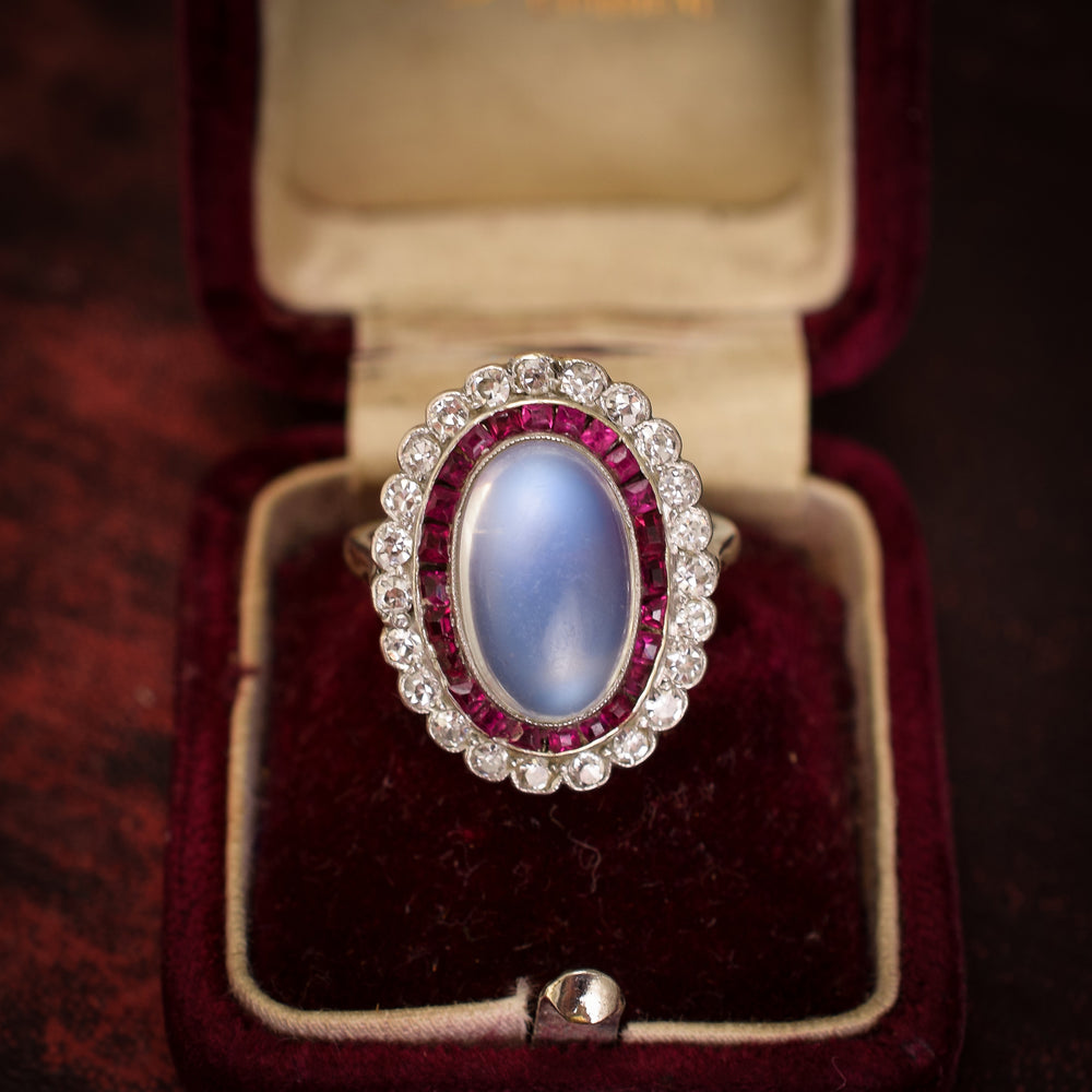 Art Deco Moonstone, Ruby & Diamond Halo Ring