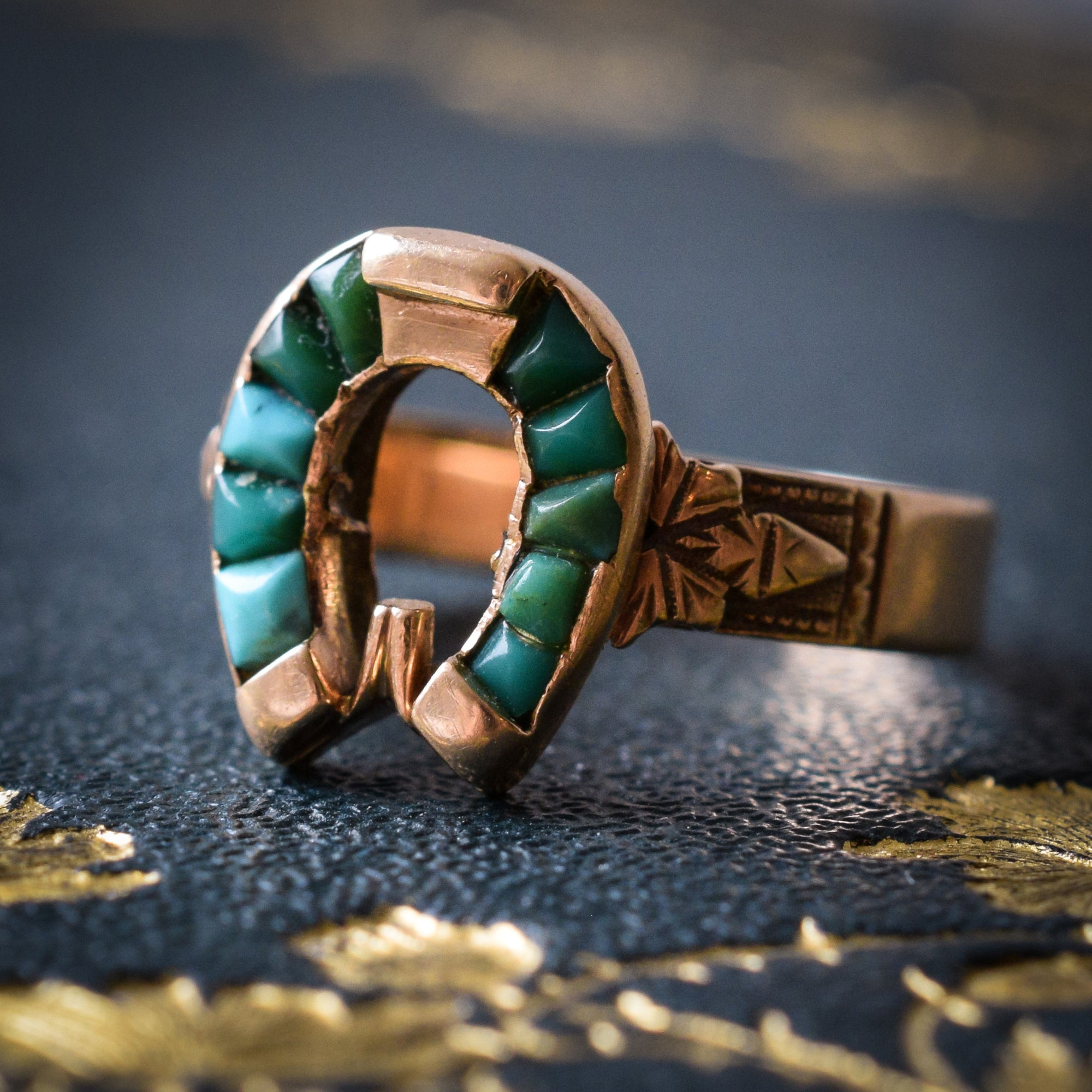 7ee4d1c2ab6d9 Victorian Turquoise & Rose Gold Horseshoe Ring
