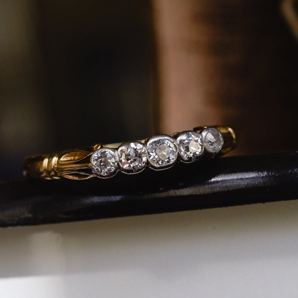 Edwardian Diamond 5-Stone Bezel Ring