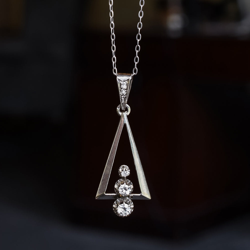 Art Deco Diamond Triangle Pendant