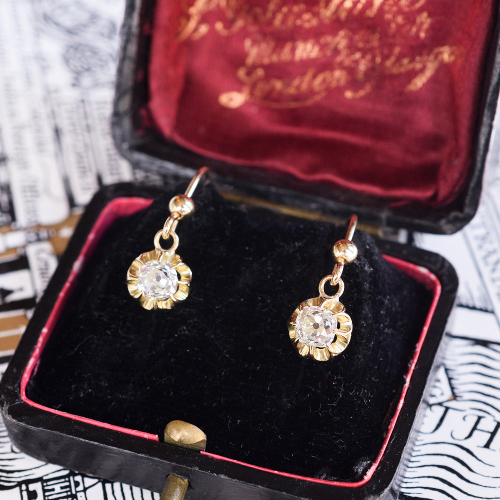 Victorian Old Mine Cut Diamond Drop Earrings