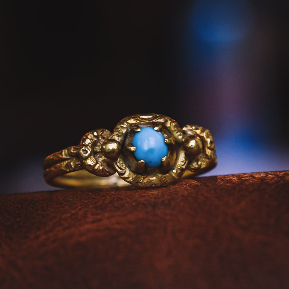 Georgian Turquoise Lover's Knot Ring