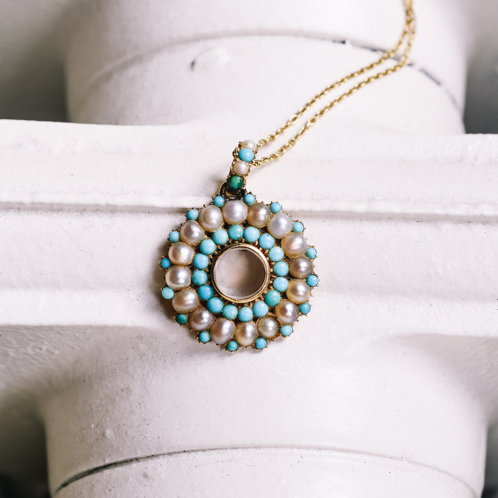 Georgian Pearl & Turquoise Round Locket