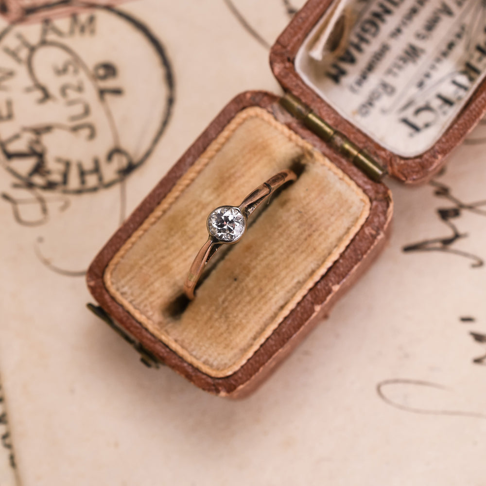 Tiny Victorian Diamond Solitaire Ring