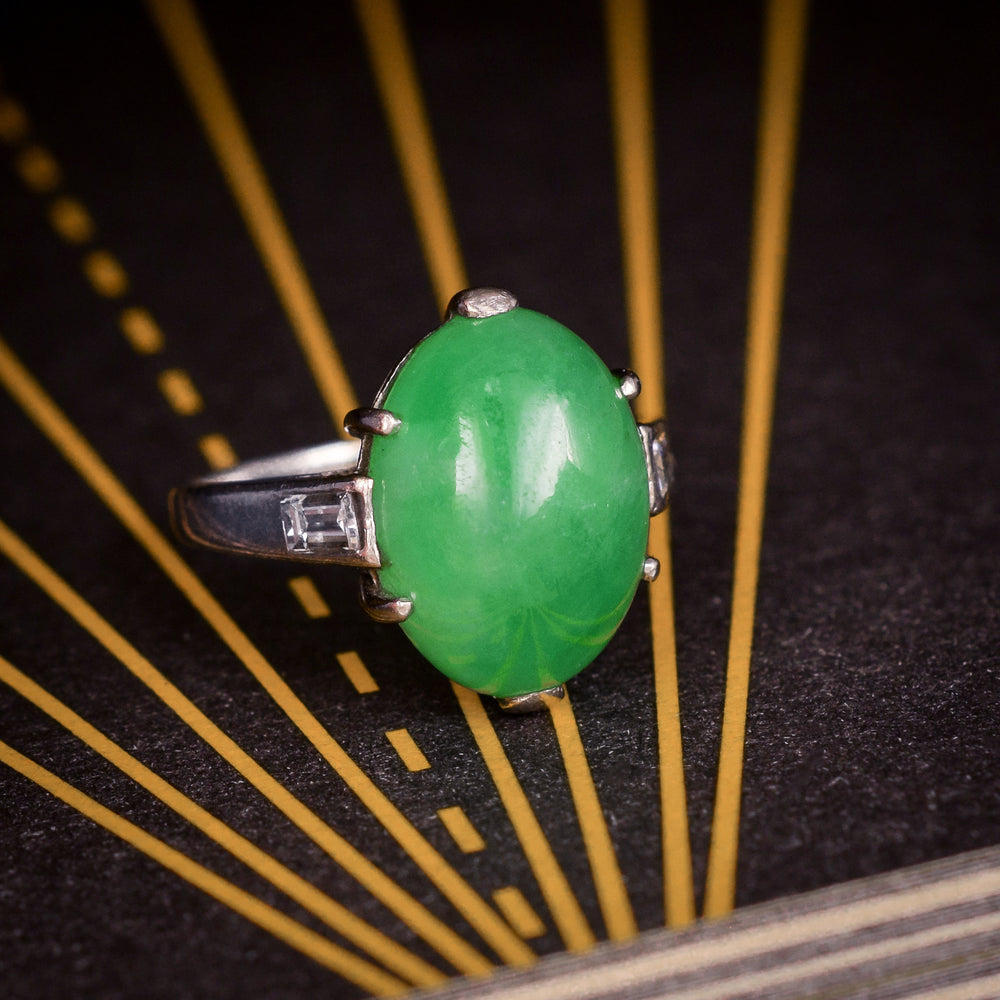 Art Deco Green Jade Cocktail Ring