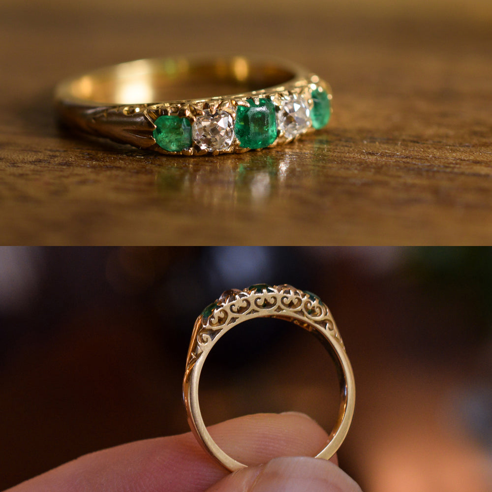 Victorian Emerald & Diamond Scrolled 5-Stone Ring