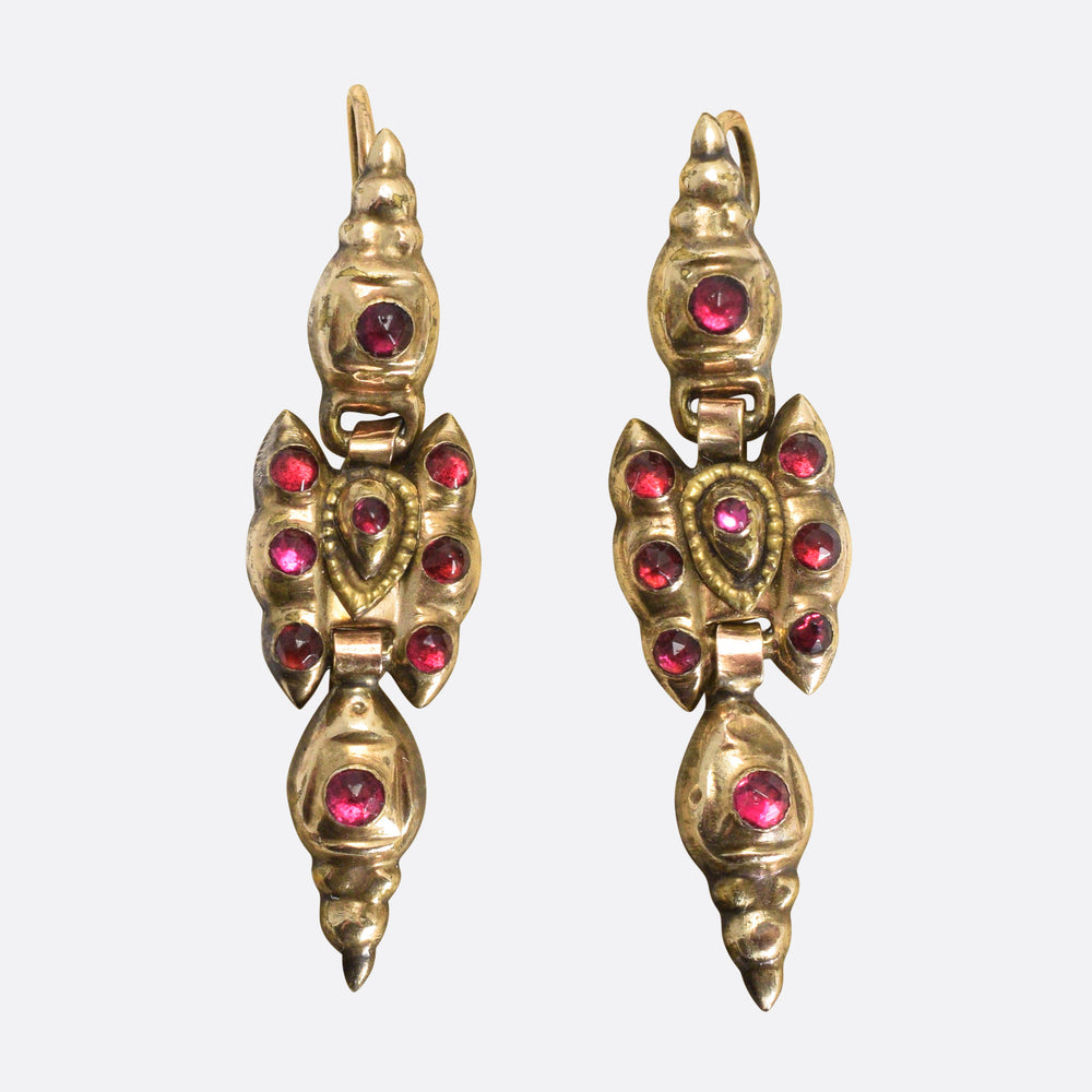 1700s Portuguese Garnet Earrings