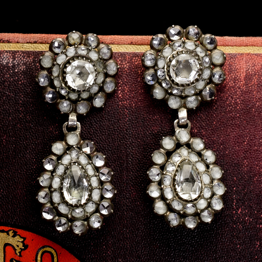 Antique Georgian Vauxhall Glass Cluster Earrings