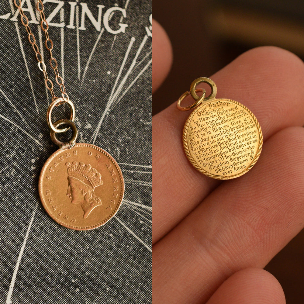 Mid-Victorian Lord's Prayer Gold Liberty Dollar Pendant