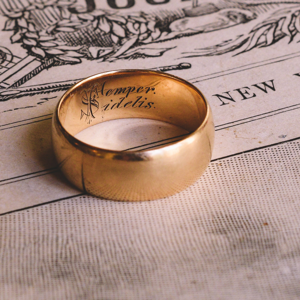 Early Victorian Semper Fidelis Wedding Band
