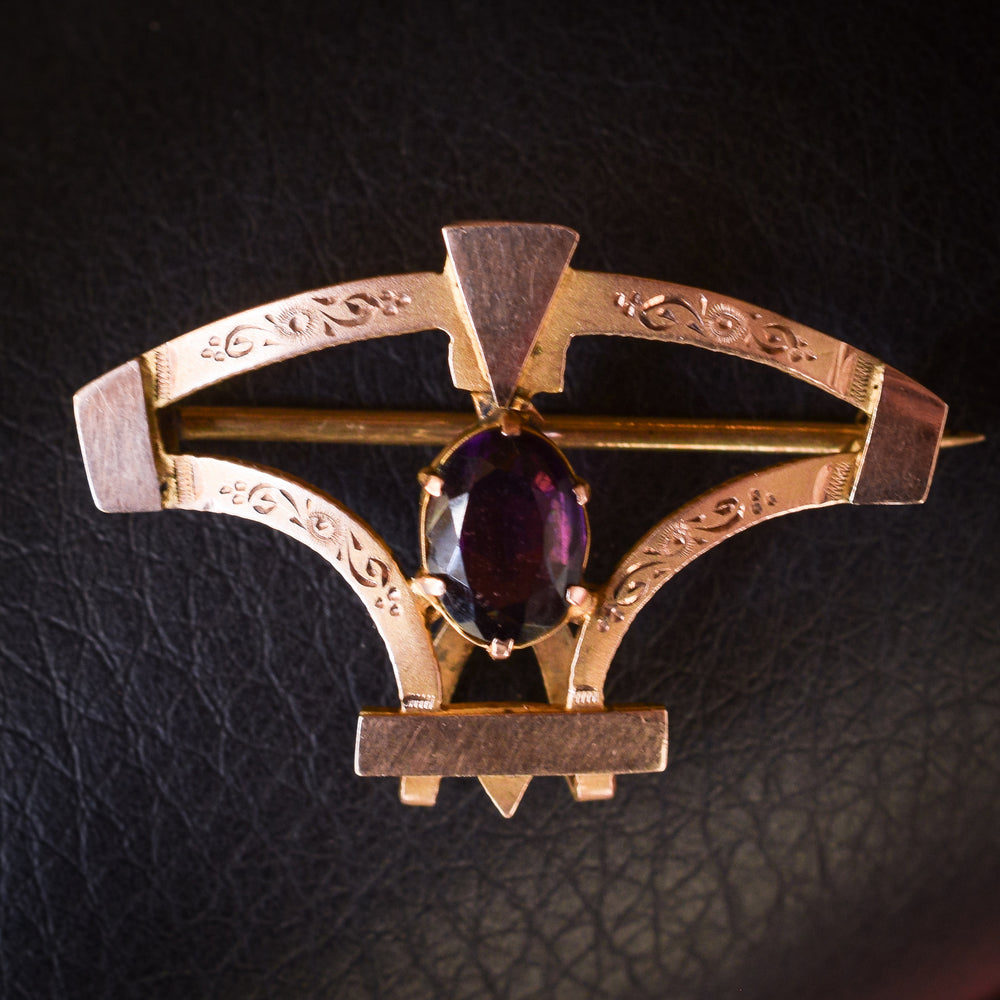 Art Deco Amethyst Watch Holder Brooch