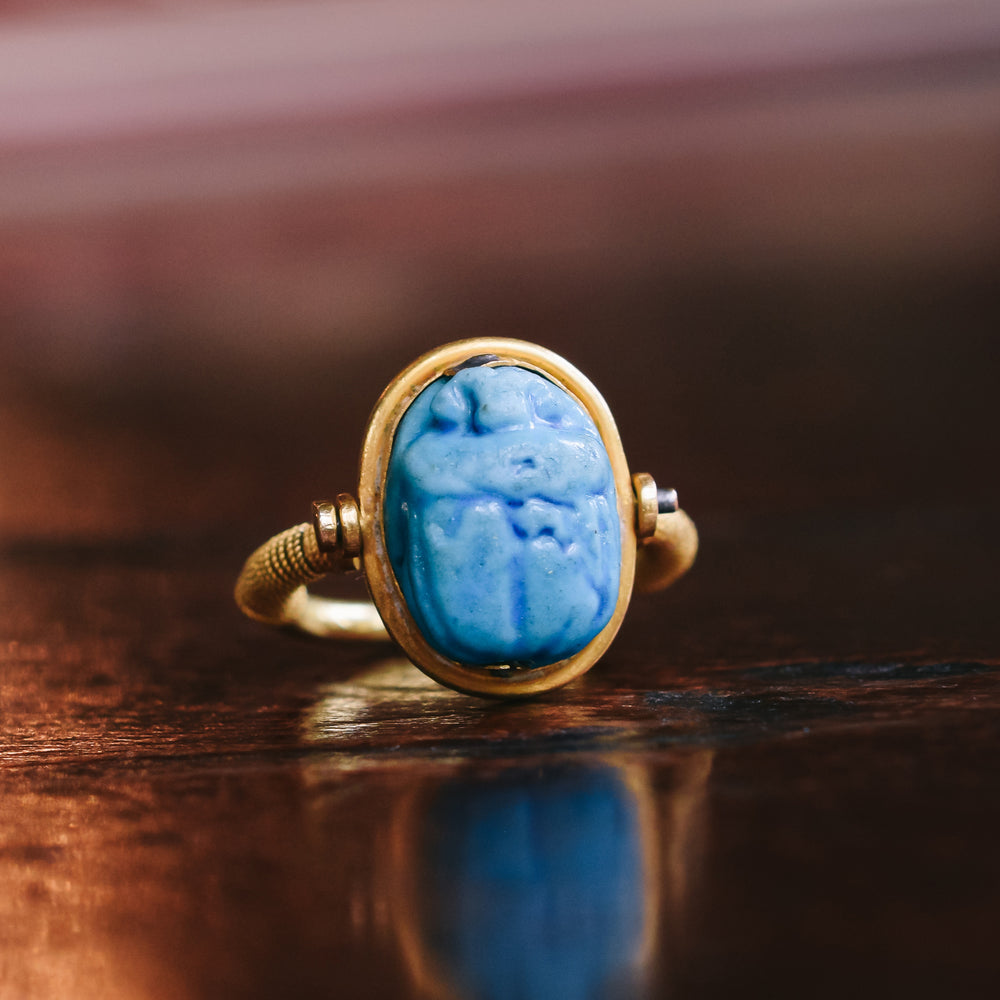 Victorian Egyptian Revival Faience Scarab Spinner Ring