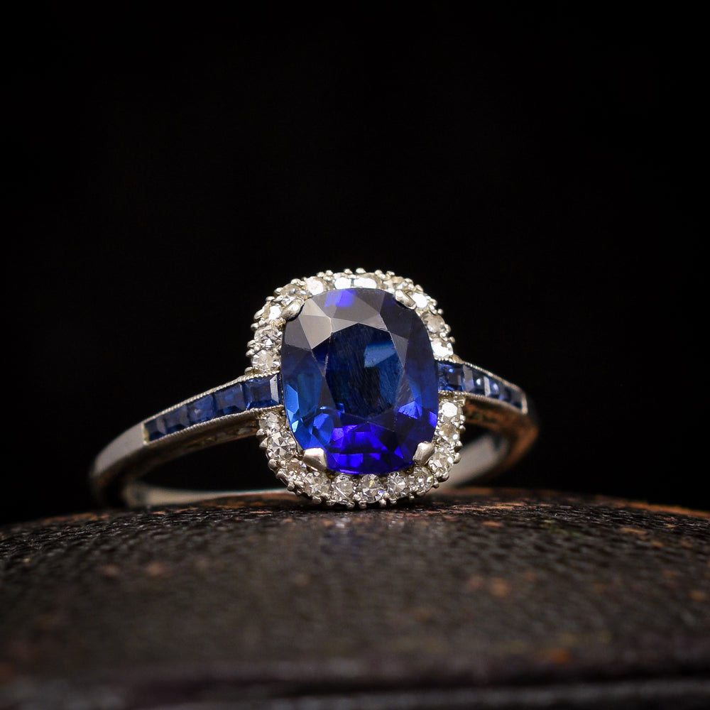 Art Deco 1.76ct Sapphire & Diamond Cluster Ring