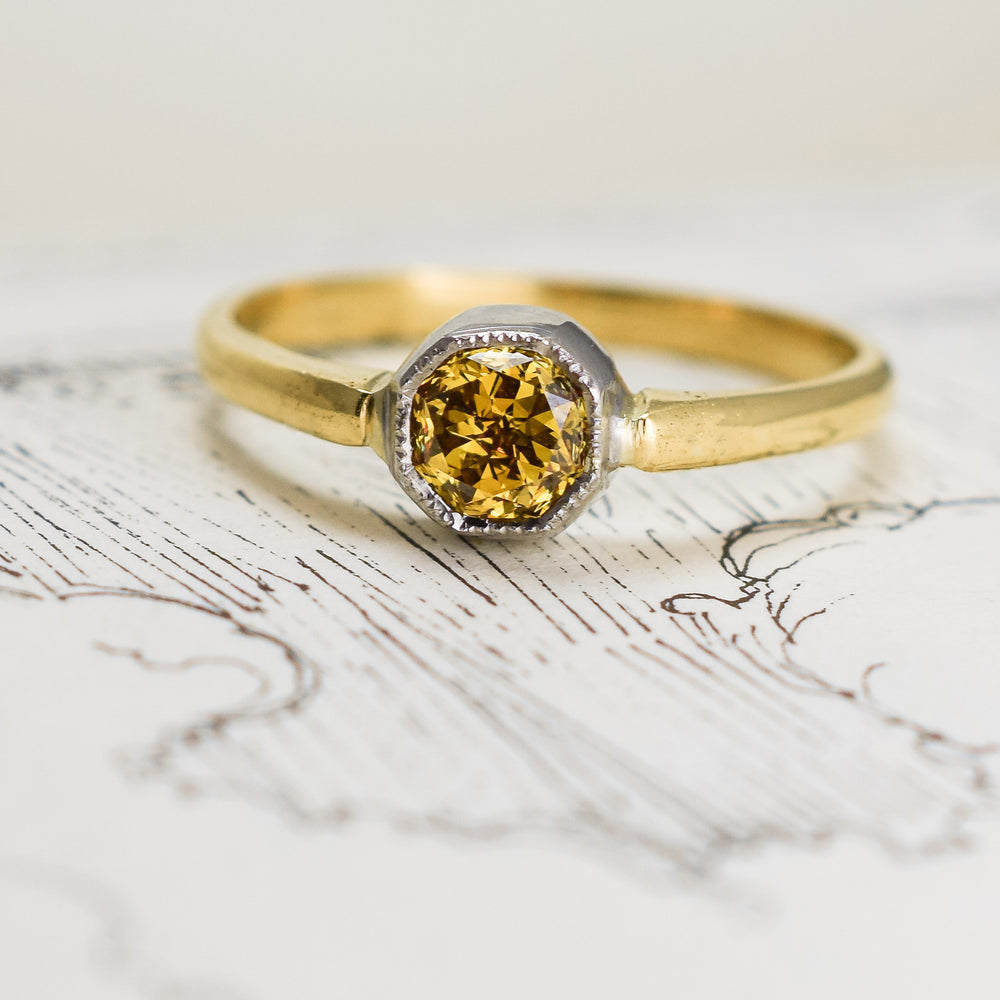 Bespoke Fancy Intense Orangish-Yellow Diamond Solitaire Ring