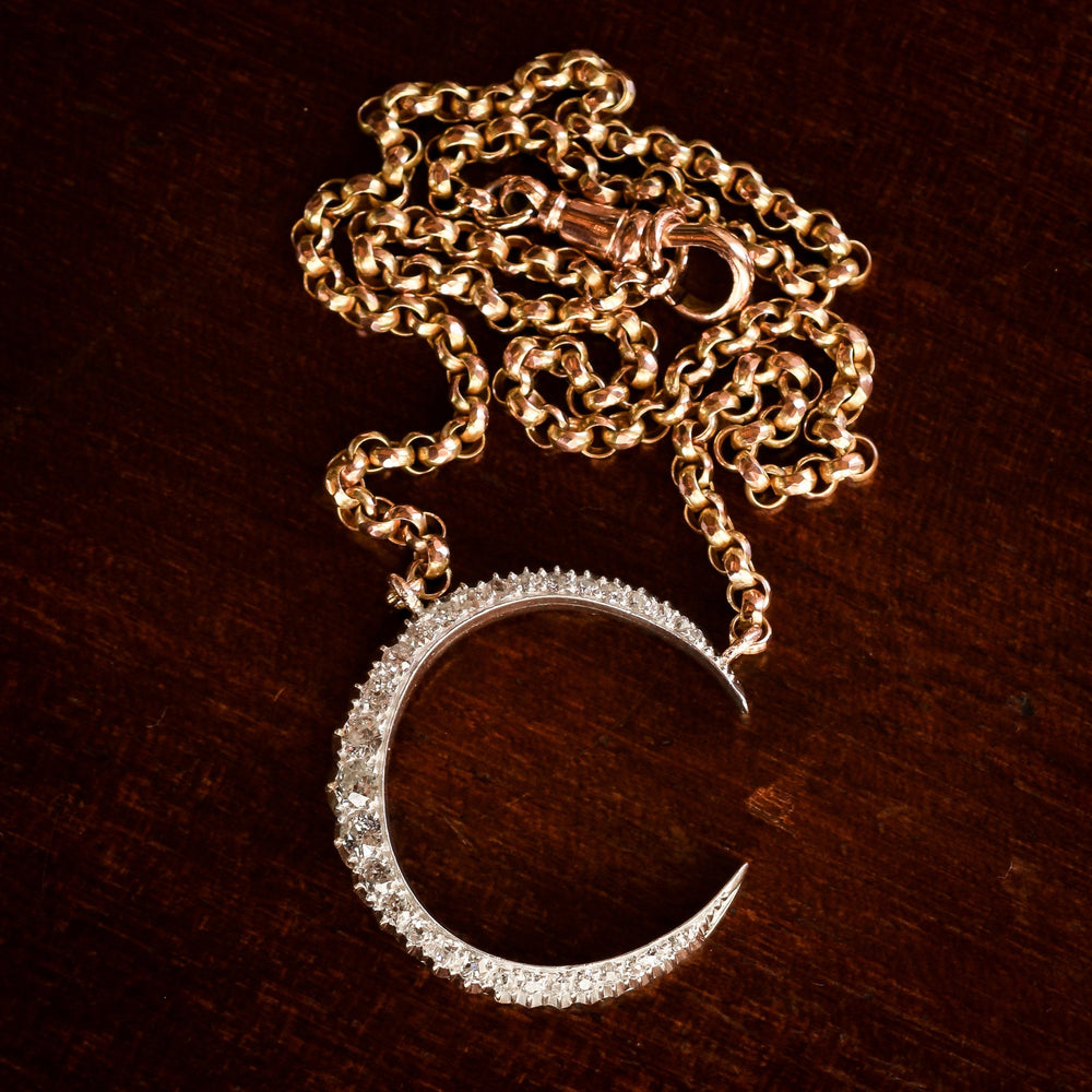 Victorian Diamond Crescent Moon Necklace