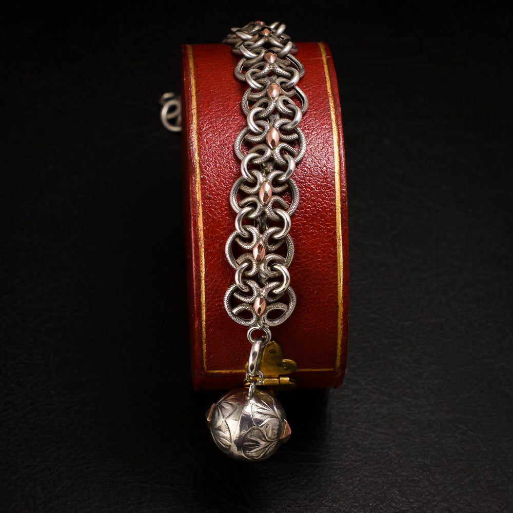 Victorian Silver & Rose Gold Ball & Chain Bracelet