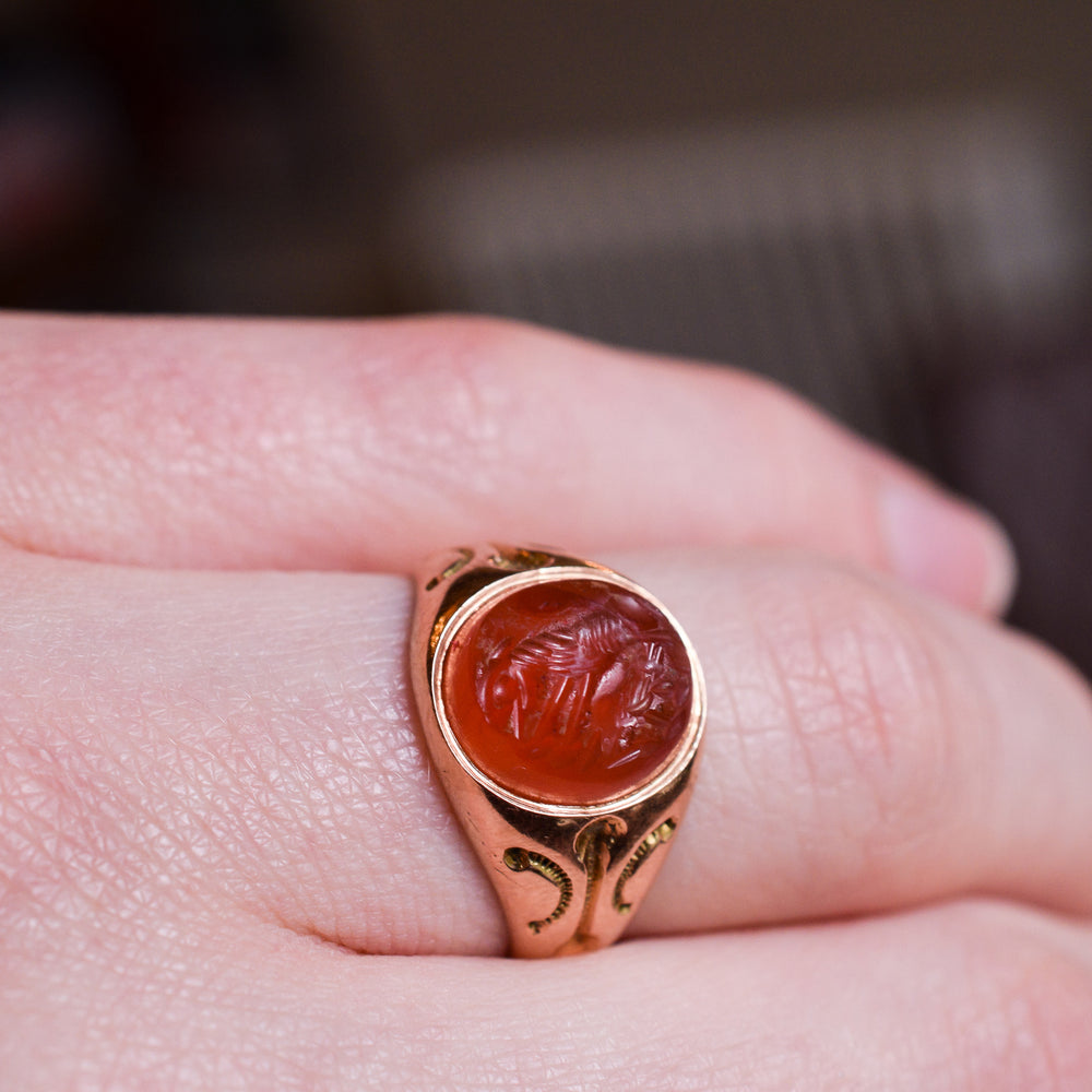 Victorian Signet Ring with Roman She-Wolf Intaglio
