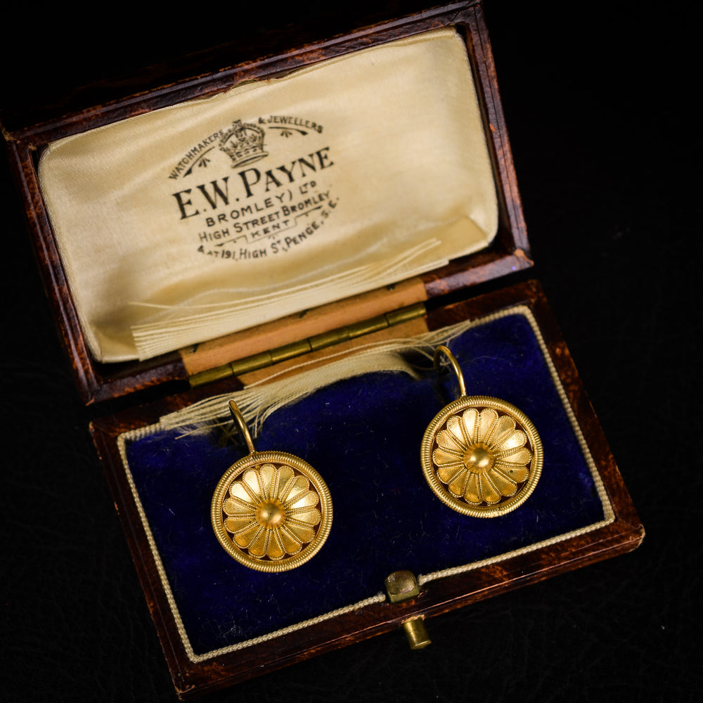 Victorian Etruscan Revival Flower Earrings