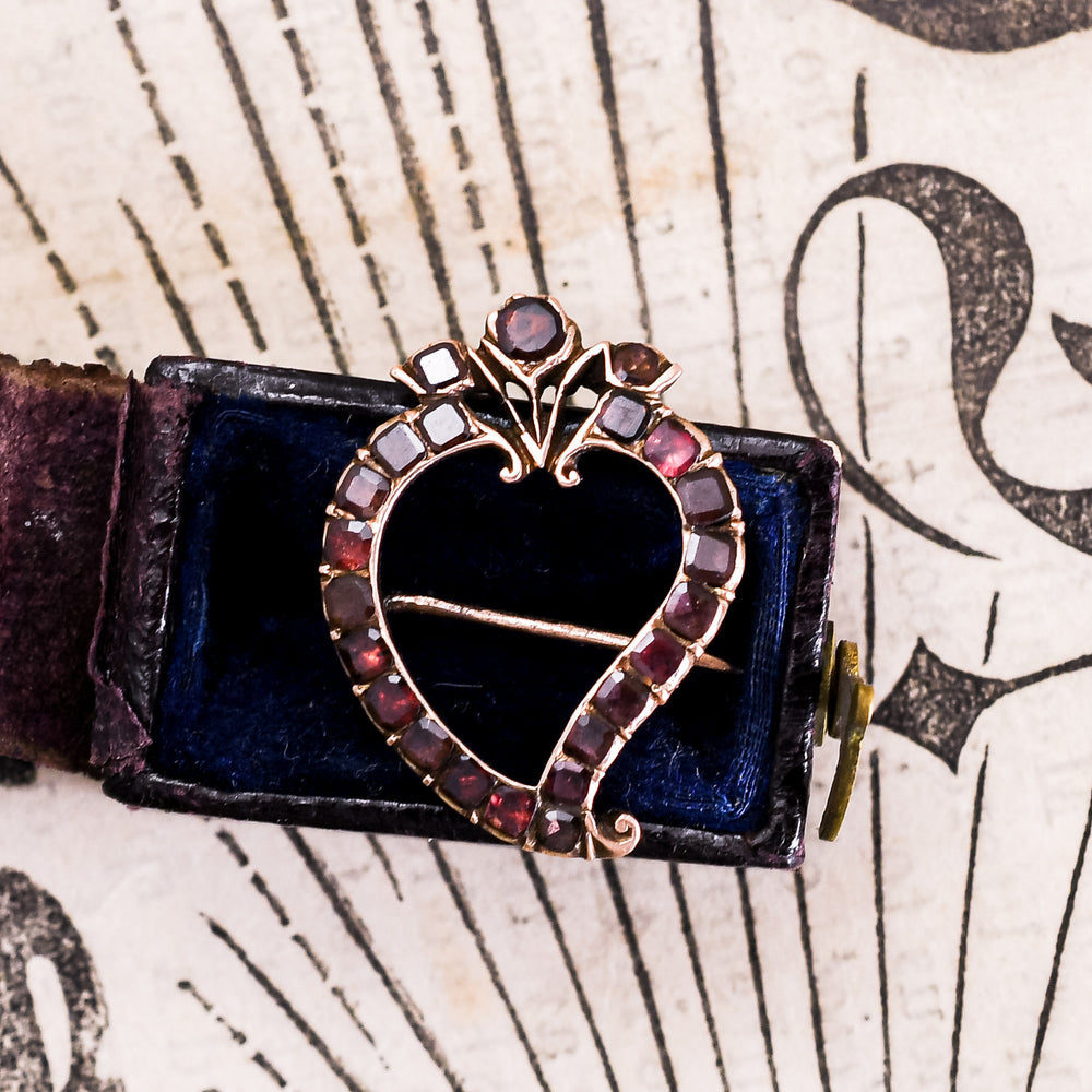 Georgian Garnet Witch's Heart Brooch