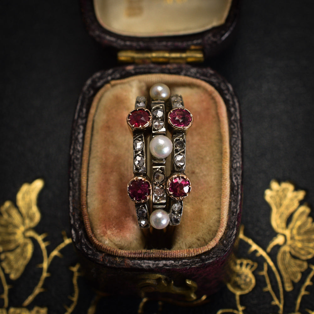 Victorian Ruby Diamond & Pearl Harem Ring
