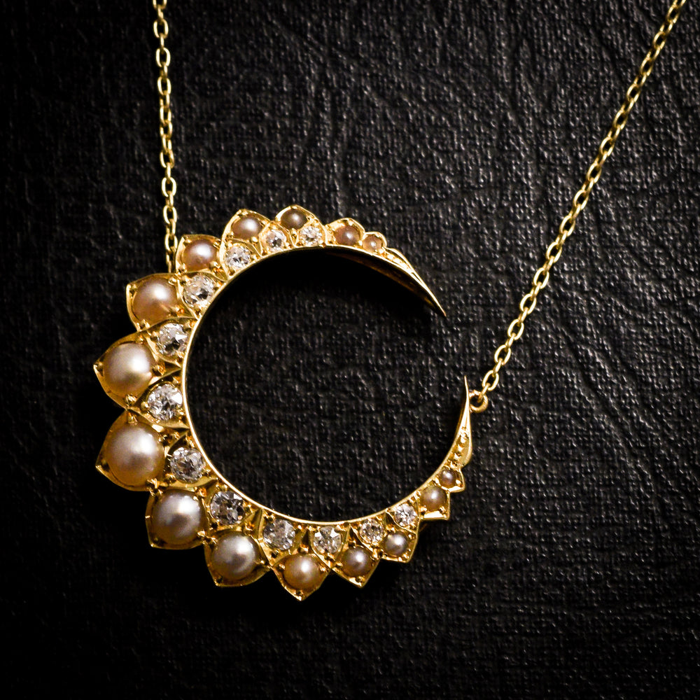 Victorian Pearl & Diamond Crescent Necklace