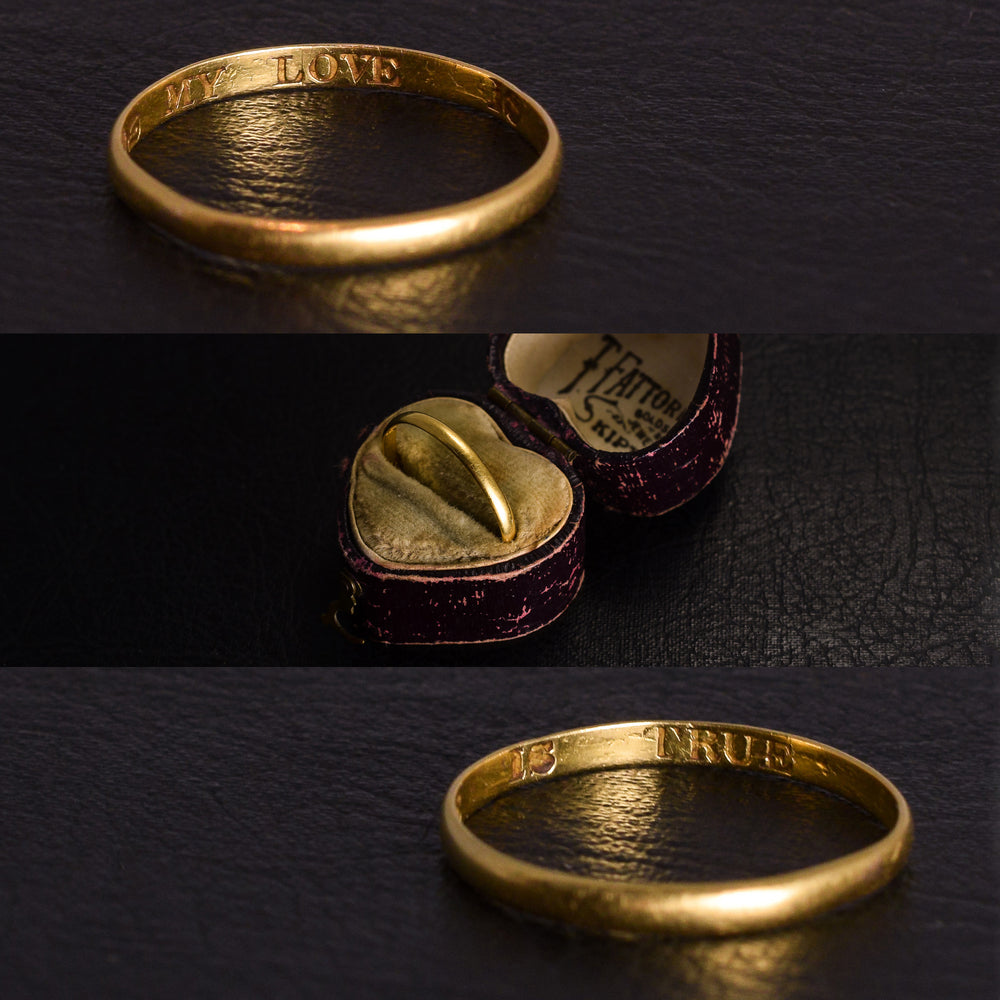 Georgian 18k Gold Posy Ring MY LOVE IS TRUE