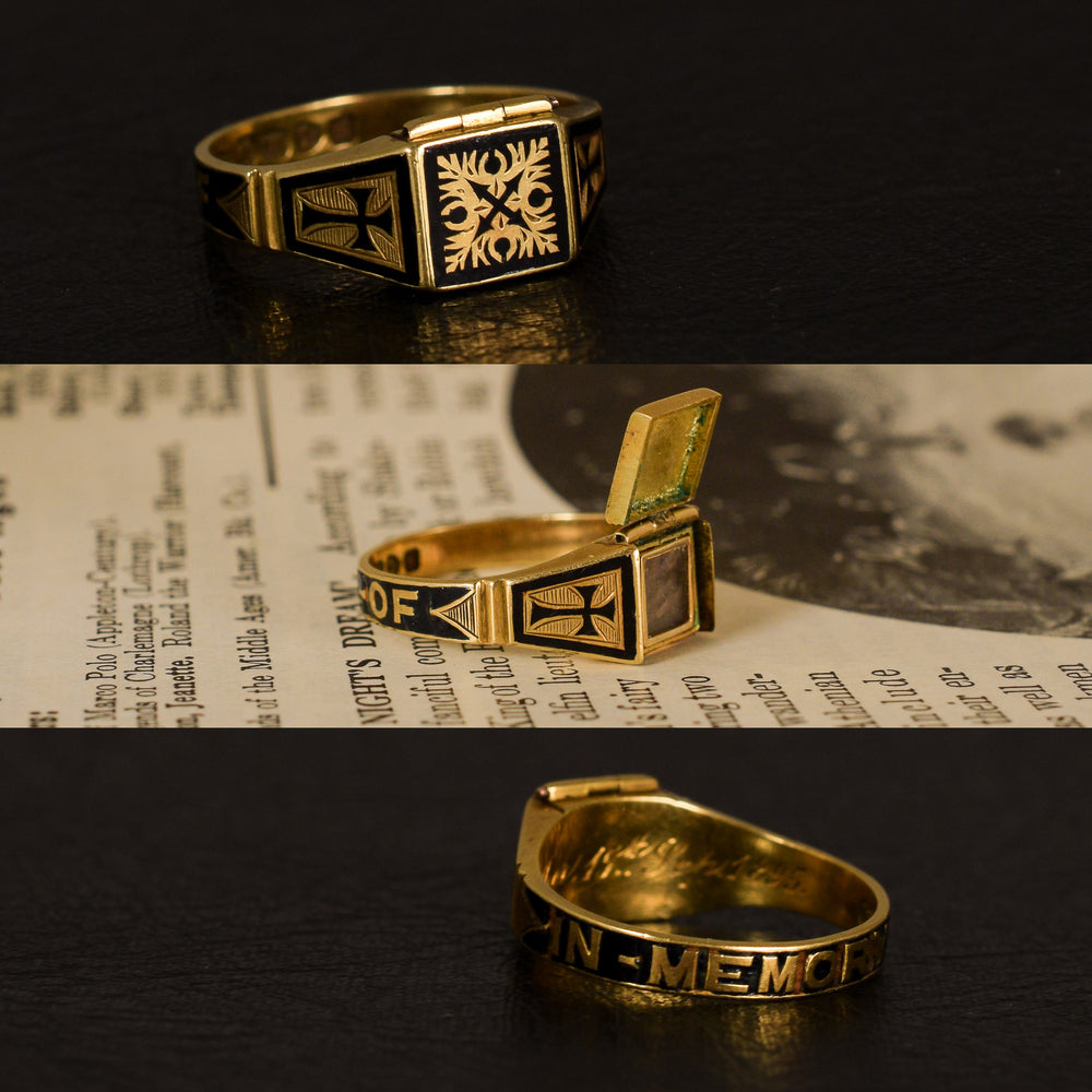 Late Victorian IN MEMORY OF Locket Mourning Ring