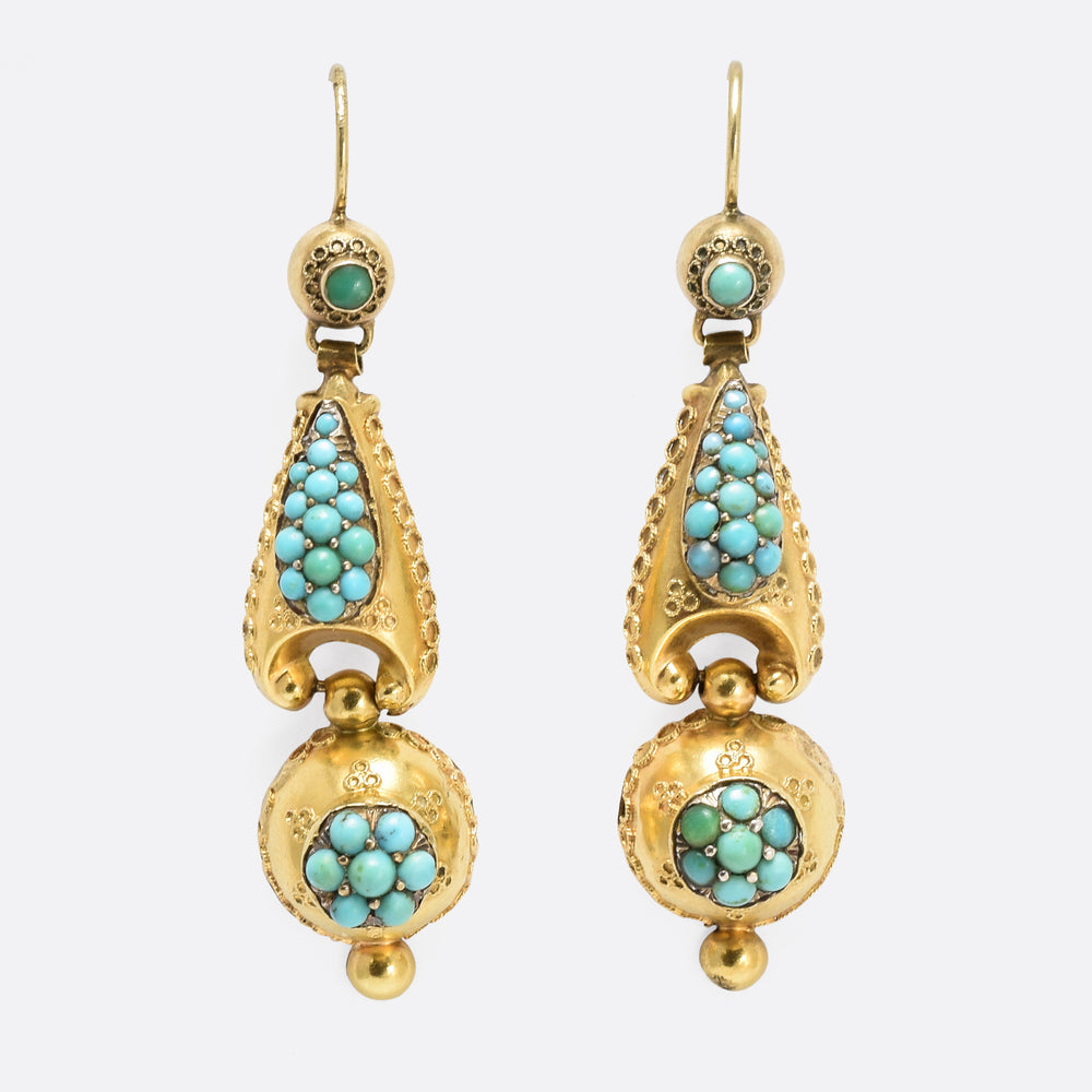 1870s Etruscan Revival Pavé Turquoise Earrings