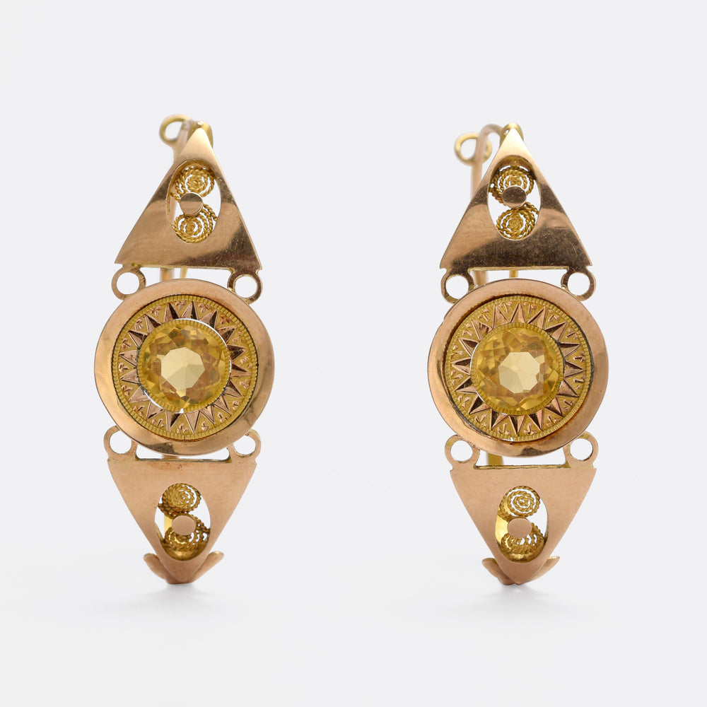 18th Century Citrine Poissarde Earrings
