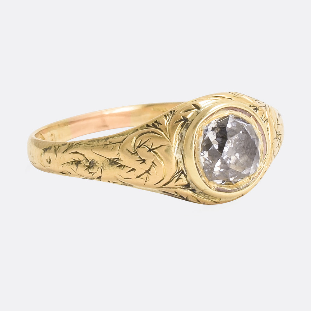 18th Century Cushion Cut Diamond Solitaire Ring