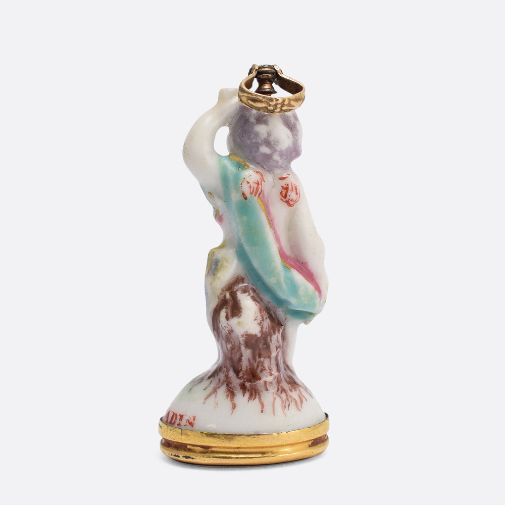 "18th Century Derby Chelsea ""Cupid on Tree-stump with Mug"" Porcelain Fob Pendant"
