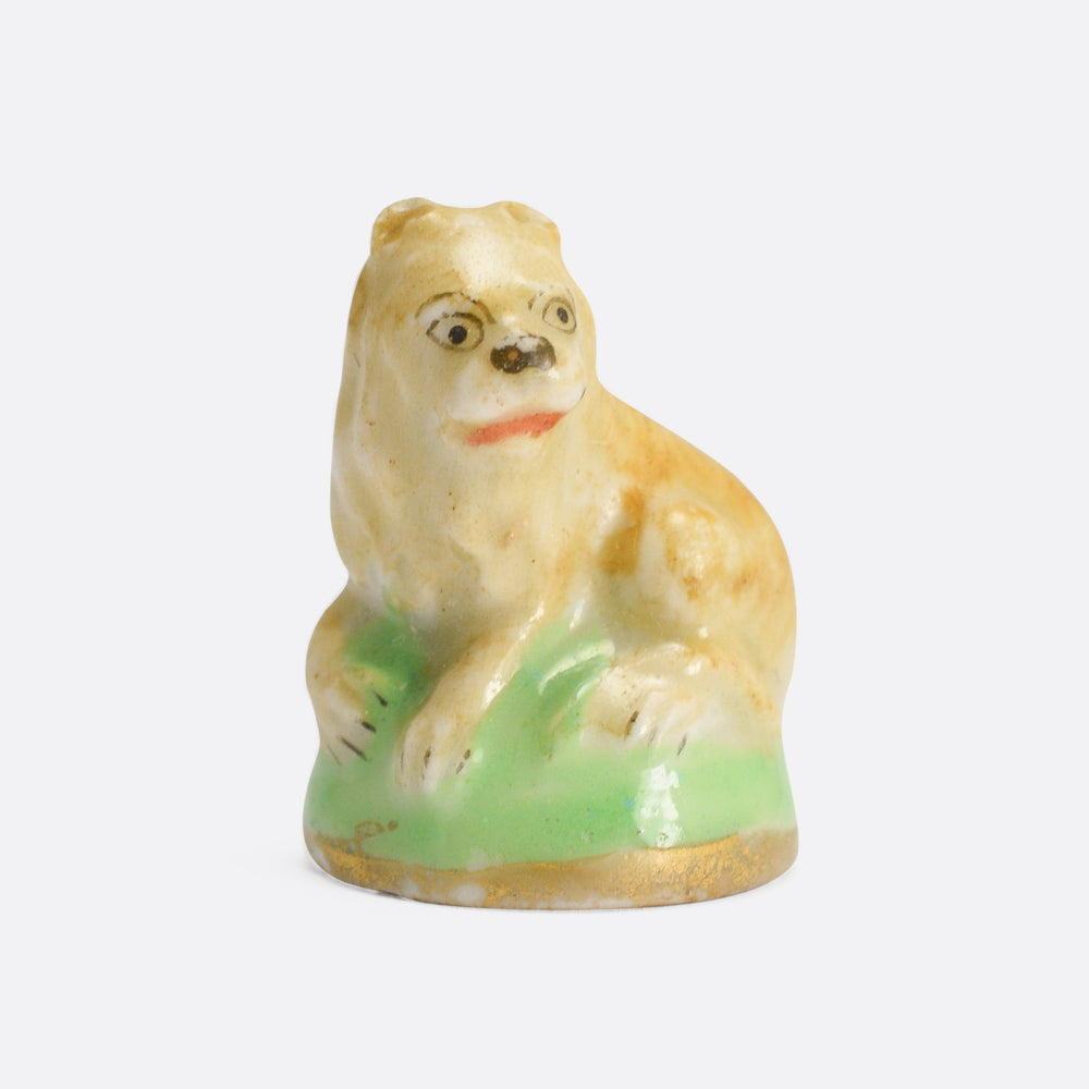 18th Century Derby Chelsea Lying Lion Porcelain Fob Seal