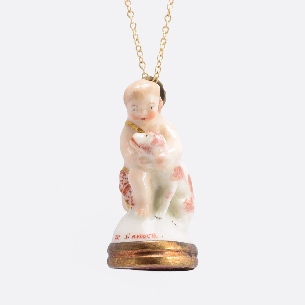 "18th Century Derby Chelsea Porcelain ""Cupid Caressing Dog"" Fob Pendant"