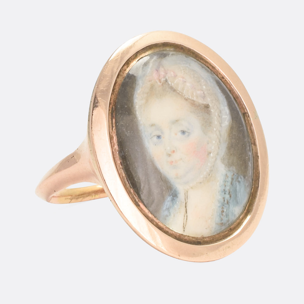 18th Century Lady with Bonnet Portrait Miniature Ring