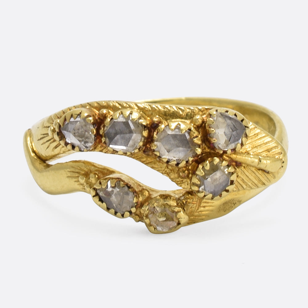 18th Century Rose Diamond Snake Ring