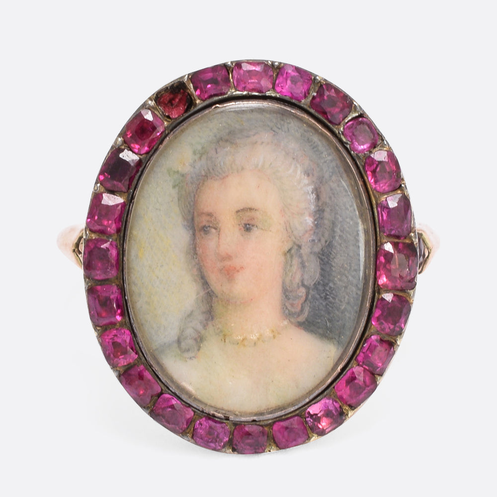 18th Century Ruby Halo Portrait Ring
